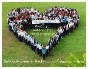 The students of the Balboa Academy in the Republic of Panama: Would you notice if I/we were missing?